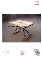 Кованный стол с деревянной столешницей