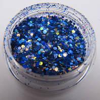 """Украшение для дизайна ногтей """"Брокард"""", цвет синий хамелион"""