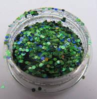 """Украшение для дизайна ногтей """"Брокард"""", цвет сине зеленый"""