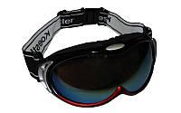 Очки лыжные (акрил, пластик, PL, цвет оправы черный,  красный, серый)