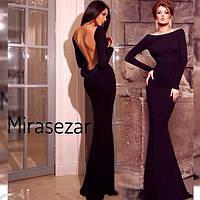 Женское красивое платье в пол с открытой спиной