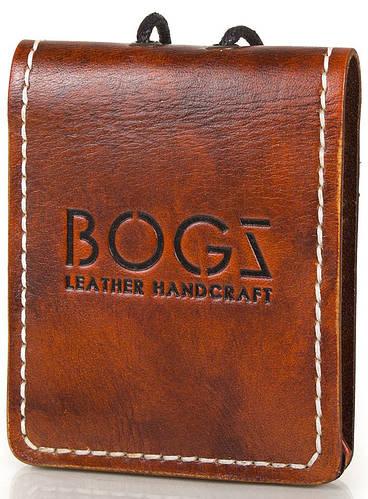 Эксклюзивное кожаное мужское портмоне BOGZ (БОГЗ) BZ-4-A114 коричневый