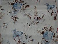Ткань портьерная голубая роза на молочном фоне