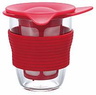 Кружка с ситечком Hario для заваривания чая 200 мл розовая