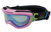 Очки горнолыжные детские (акрил, пластик, PL, двойные линзы, антифог, цвет линз-прозр,опр.розовая)