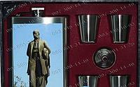 Подарочные наборы Фляга TZ-611-2 Походная фляга в кожаном чехле Фляга+лейка+4стопки Стильные подарки мужчине
