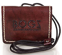 Кожаное мини-портмоне для мужчин BOGZ (БОГЗ) BZ-5-A102 бордово-коричневый