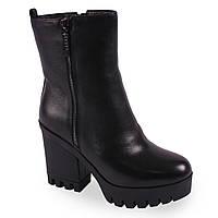 Красивые женские ботинки Soti Soni(зимние, тракторная подошва, на каблуке, натуральная кожа, замок, удобные)