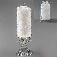 Большая свадебная свеча с розочками и серебристым напылением