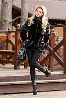 Женский полушубок с кожаными вставками от производителя