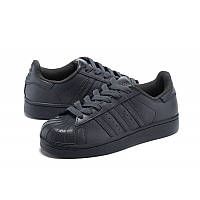 Кроссовки женские Adidas Superstar supercolor PW Черные кожаные Оригинал