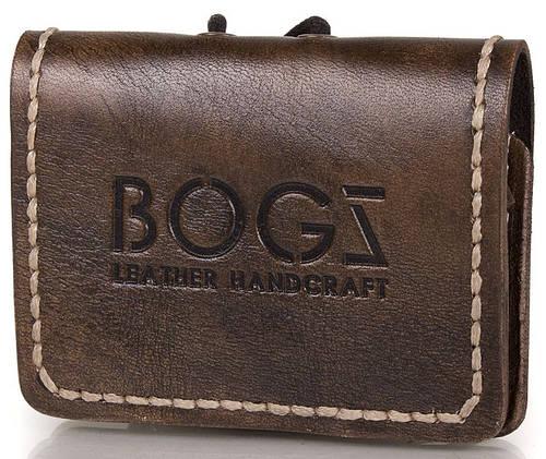 Практичное кожаное мужское мини-портмоне BOGZ (БОГЗ) BZ-5-A105 коричневый