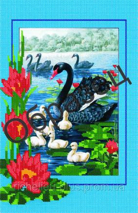 Вышивка лебеди и лилия