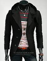 Стильное кашемировое пальто - тренч с капюшоном black