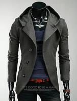 Стильное приталенное пальто - тренч с капюшоном Gray