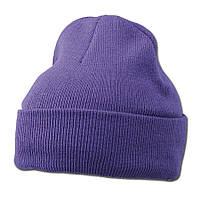 Фиолетовая вязаная шапка с отворотом
