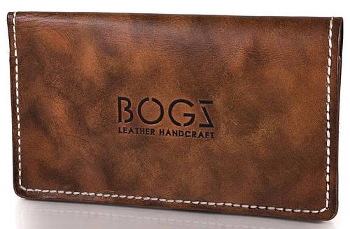 Стильный бумажник мужской из натуральной кожи BOGZ (БОГЗ) BZ-1-A124 желто-коричневый