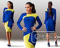 Обтягивающее платье с геометрическими асимметричными вставками