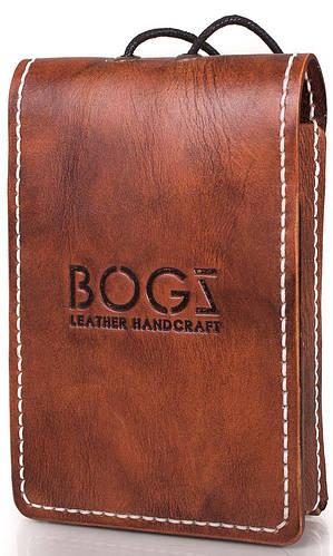 Удобный бумажник мужской из натуральной кожи BOGZ (БОГЗ) BZ-2-A134 оранжево-коричневый