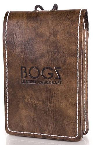 Комфортный мужской бумажник из кожи BOGZ (БОГЗ) BZ-2-A135 коричневый