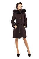 Пальто женское зимнее турецкий кашемир с капюшоном мех из песца размеры 42,44,46,48,50