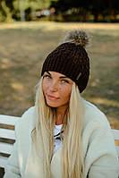 Шапка женская LA VISIO с натуральным помпоном - Коричневый