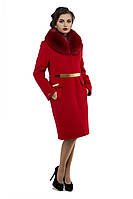 Пальто женское зимнее турецкий кашемир отложной воротник мех из песца