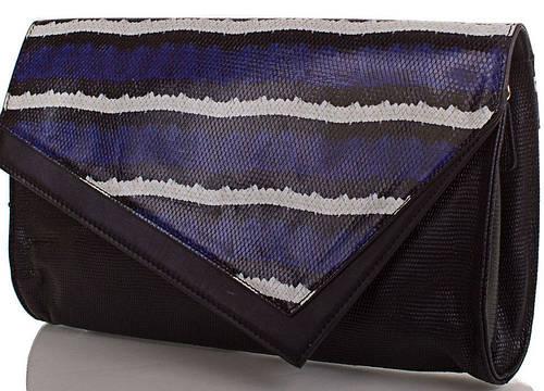 Креативный женский кожаный клатч ETERNO (ЭТЕРНО), черный, ET15043-3