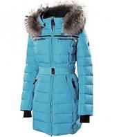 Пуховик женский Snowimage с мехом(енот) голубой, длинный
