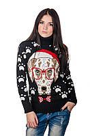 Молодежный шерстяной свитер Собака (черный)