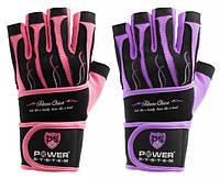 Перчатки для тяжелой атлетики женские POWER SYSTEM Розовый Фиолетовый