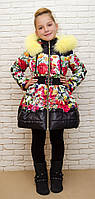 """Детское теплое пальто с юбкой """"Цветы"""", зима и деми; размеры от 86 до 152"""