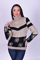 Бежевый женский свитер зимний под горло