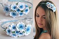 """""""Голубые кучерявые розочки"""" обруч/веночек для волос с цветами"""