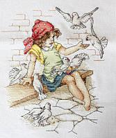 """Набор для вышивания крестом """"Luca-s"""" B1051 Девочка с голубями"""