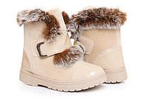 Модные женские зимние ботиночки бежевые с мехом