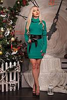 Красивое теплое платье с длинным рукавом и карманами спереди