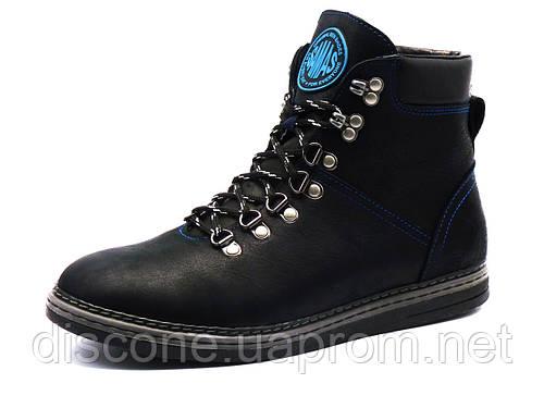 Ботинки Samas Barcode Black, мужские, натуральная кожа, на меху, черные
