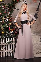 Праздничное  платье женское длинное с поясом в бежевом цвете