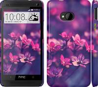 """Чехол на HTC One M7 Пурпурные цветы """"2719c-36"""""""