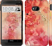 """Чехол на HTC One M7 Розовые цветы """"2461c-36"""""""