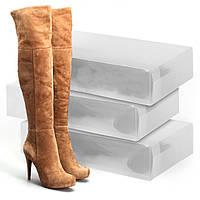 Пластиковые коробки для хранения обуви, набор 3шт (52х30х11см)