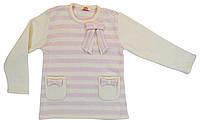 Дайс Туника вязаная длинный рукав Дайс  бело-розовый р.86 (шерсть50%*полиакрил50%)