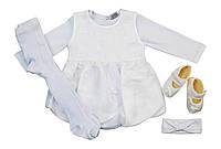 Pon Pon Комплект 'Крещение для девочки' Pon Pon  белый р.68 (интерлок)