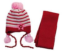 AJS Комплект шапка и шарф 'Цветок' AJS  красный р.48 (шерсть30%*акрил70%)