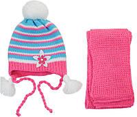 AJS Комплект шапка и шарф 'Цветок' AJS  розово-голубой р.48 (шерсть30%*акрил70%)
