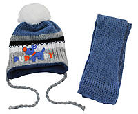 AJS Комплект шапка и шарф 'Puppy' AJS  серо-синий р.40 (шерсть30%*акрил70%)