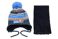 AJS Комплект шапка и шарф 'Team 57' AJS  серо-голубой р.48 (акрил50%*полиэстр50%)