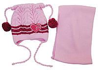 AJS Комплект шапка и шарф 'Сердечко' AJS  розовый р.48 (акрил)
