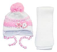 AJS Комплект шапка и шарф 'Цветок' AJS  светло-розовый р.48 (шерсть30%*акрил70%)